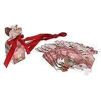 KESOTO 10個 ギフトボックス リボン装飾 小物入れ 紙箱 結婚式の好意 4色選べ - ワインレッド