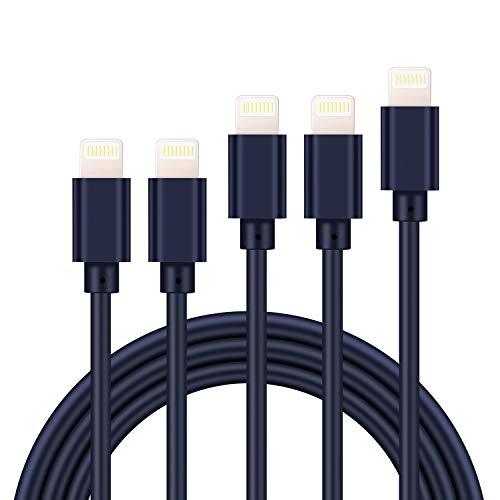 【最新版 5本セット】iphone 充電ケーブル ライトニングケーブル 【1M+1M+2M+2M+3M】 高速データ転送 急速充電 USB同期&充電 高耐久 断線防止 Lightning ケーブル アイフォン充電ケーブルiPhone XS/XS Max/XR/X/8/8Plus/7/7 Plus/6s/6s Plus/iPad/iPod各種対応