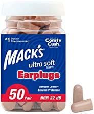 Mack's Ultra Soft Foam Earplugs, 50 Pair - 32dB Highest NRR, Comfortable Ear Plugs for Sleeping, Snoring, Travel, Concerts,