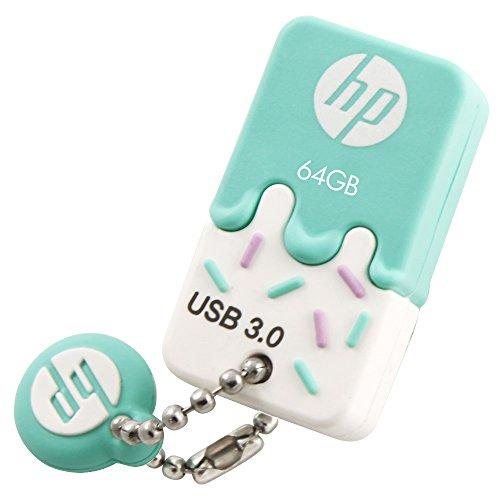 HP ヒューレット・パッカード 高速アイスクリーム USBメモリ (64GB, x778w - USB 3.0 / ブルー アイスクリーム ゴム製 耐衝撃 防滴 防塵)