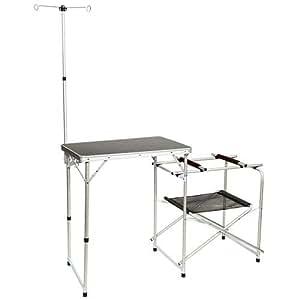 [クイックキャンプ] アウトドア 折りたたみ キッチンテーブル 収納袋付き グレー QC-KT70 軽量 折り畳み キャンプ用調理台 ハイテーブル