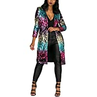 Antique Style Women's Autumn Cover Up Long Sleeve Sequins Loose Open Front Cardigan Coat Dress