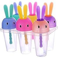 blisscomdepキュート傘/Rabbit Popsicle Molds Set 4 /6cells Lollyアイスポップメーカー金型DIYアイスキャンディー金型トレイ 44QN9258LZ09LI