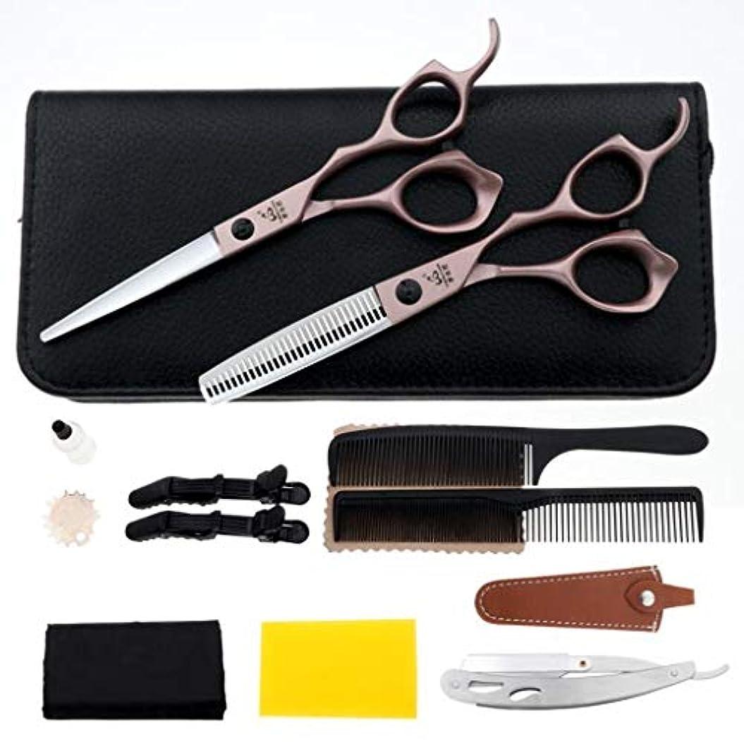 舞い上がるエンディング結論6インチプロフェッショナル理容理髪理髪はさみセットは、理髪かみそりせん断、間伐はさみ、髪の毛の櫛とはさみケース付きステンレス鋼かみそりが含まれています
