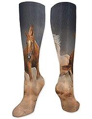 靴下,ストッキング,野生のジョーカー,実際,秋の本質,冬必須,サマーウェア&RBXAA Horse Socks Women's Winter Cotton Long Tube Socks Knee High Graduated...