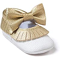 Isbasic Baby Girl Bows Mary Jane Flats Toddler Infant Soft Sole Anti-Slip Princess Baptism Crib Dress Ballet Shoes