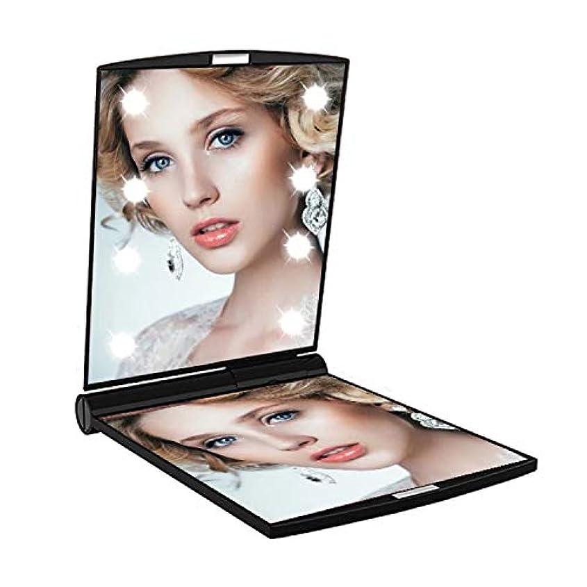 ディスコおとこシェトランド諸島LED付き コンパクトミラー 化粧鏡 折りたたみ式 2倍拡大鏡付き 両面鏡 【暗い場所でもお顔がはっきりと確認できるLEDミラー】