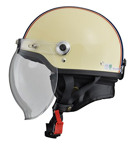 LEAD (リード工業)  ジェット CROSS バブルシールド付きハーフヘルメット アイボリー×ネイビー CR-760 FREE (頭囲 57cm~60cm未満) B009DUSSM0 1枚目