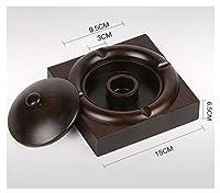 エボニー灰皿レトロソリッドウッド多機能灰皿のホームオフィス、マルチスタイルのための蓋 (サイズ さいず : N n)