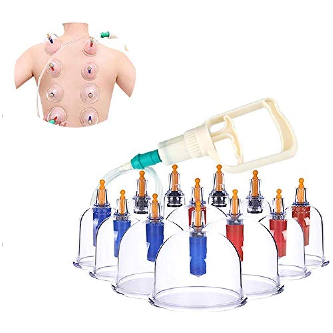 ドアミラーサージレキシコンカッピングセラピーセット、真空ポンプとバルブを備えた12個のカッピンググラス、背中の痛みのための自然療法自己治療マッサージ、セルライト、顔、Slim身、腹部