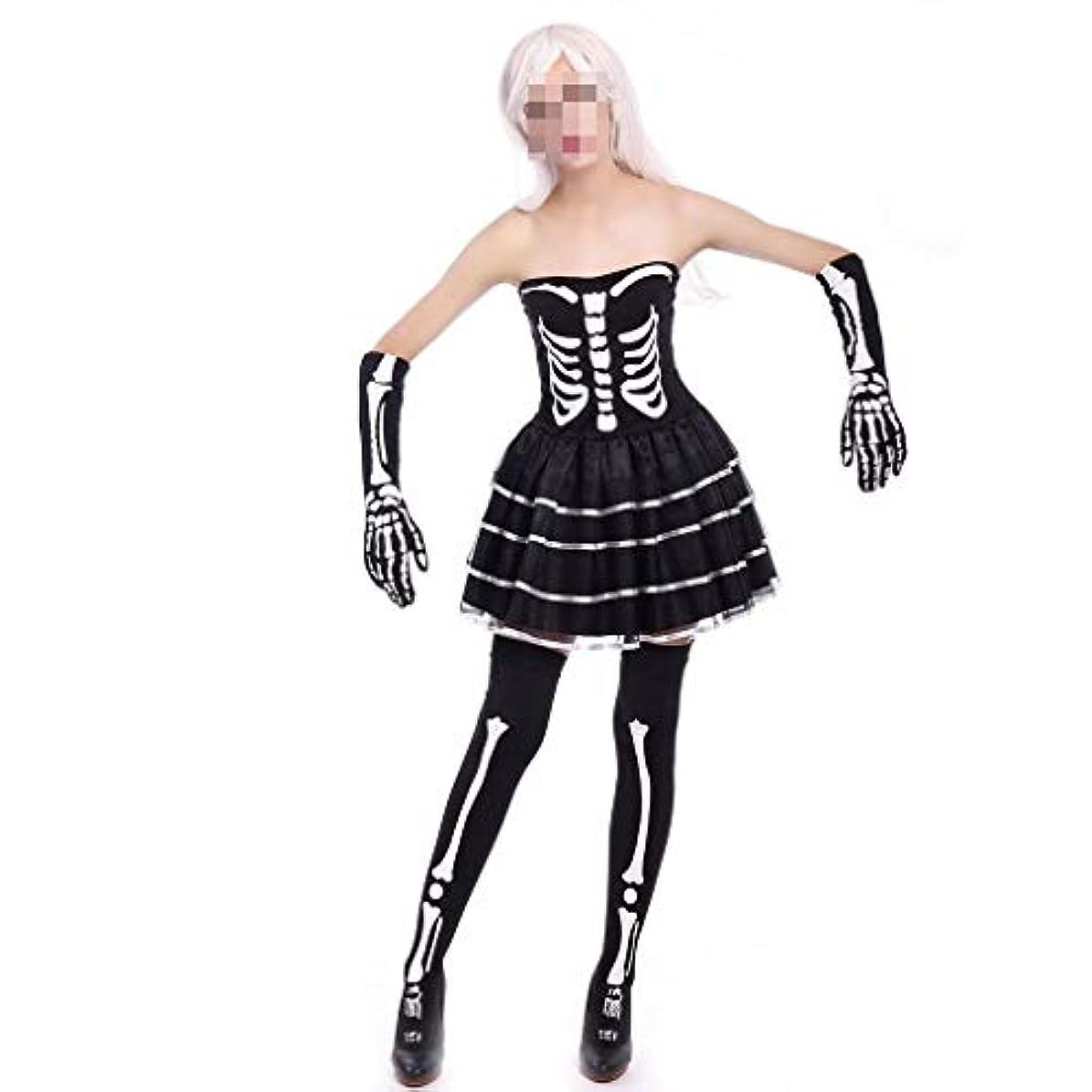 漏斗魅惑的なエスニック大人の女性ハロウィンコスチュームコスプレ吸血鬼花嫁スカート魔女ストラップレスノースリーブスカートアパレルボーンプリント服付きスリーブ (Color : Black, Size : XL)
