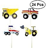 Toyvian 誕生日パーティー24PCSのための車の掘削機モデルケーキトッパーのカップケーキの装飾