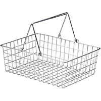 『ワイヤー』四角タイプかごバスケット「36×26×12cm」(片手持ち)