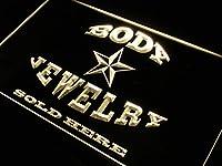 ADVPRO Body Jewelry Sold Here LED看板 ネオンプレート サイン 標識 Yellow 300 x 210mm st4s32-m041-y