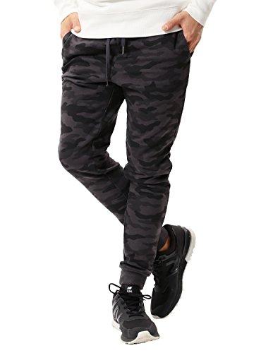 JIGGYS SHOP スウェットパンツ メンズ ジョガーパンツ ジャージ スリム 細身 無地 サイドライン 迷彩 XL Bブラックカモ