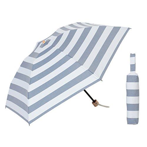 リーベン LIEBEN-0566 手開き 軽量 晴雨兼用 レディース 折り畳み 日傘 マリンボーダー