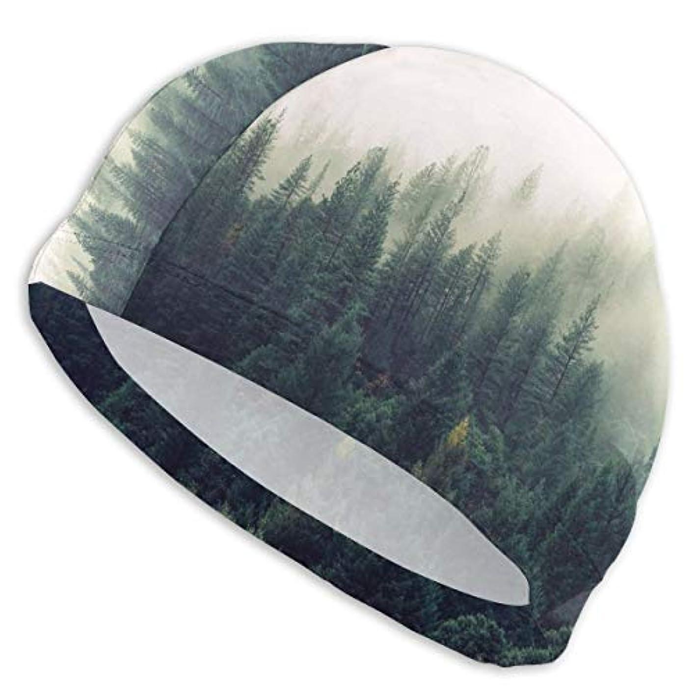 ズームインするマーケティング彫刻霧の森スイムキャップ スイミングキャップ 水泳キャップ 競泳 水泳帽 メンズ レディース 兼用 ゆったりサイズ フリーサイズ(28-33cm)