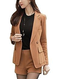 [美しいです] レディース セット スーツ 洋服 二枚 新番 フリム コート 長袖セット 女の子 春 秋 冬 半パンツ 就活 通勤 無地
