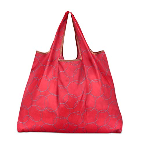 折りたたみ買い物袋 防水素材 (サークルレッド)