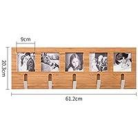 フックアップ/WT bjlwt壁掛け式木製シェルフphoto-styleコートラックホーム装飾、竹、自然木製カラー – 美しく、耐久性 5 hooks 61.2 cm 1820