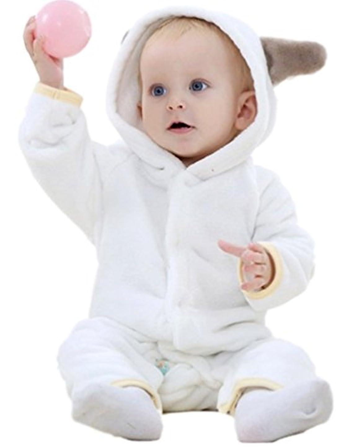 プレビスサイト従事する環境(C-blossom)ベビー キッズ ロンパース カバーオール 着ぐるみ コスチューム 防寒着 マシュマロボア&オーガニックコットン 男の子 女の子 70# 80# 90# C-005 (70, ホワイト)