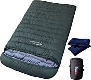 Fengzel Outdoor 2 Person Sleeping Bag, Envelope Type, White Duck Down, 33.8 - 15.1 lbs (1,000 - 4,000 g), Good