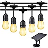 KLED LED Solar String Lights Outdoor 48Ft Waterproof Hanging Lights with S14 15 Shatterproof Bulbs & 4 Light Modes, Outside B