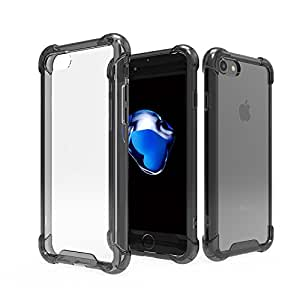 iPhone8/7 ケース ハイブリッド クリスタル 透明 クリアケース 衝撃吸収コーナーエアクッション リアガード アイフォン7 4.7インチ カバー I7-HYB-01-BK
