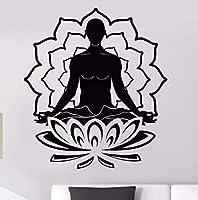 Ljjlm ビニールウォールステッカー瞑想蓮の花壁飾りヨガ仏教壁アート壁画家の寝室の装飾ヨガステッカー42×47センチ