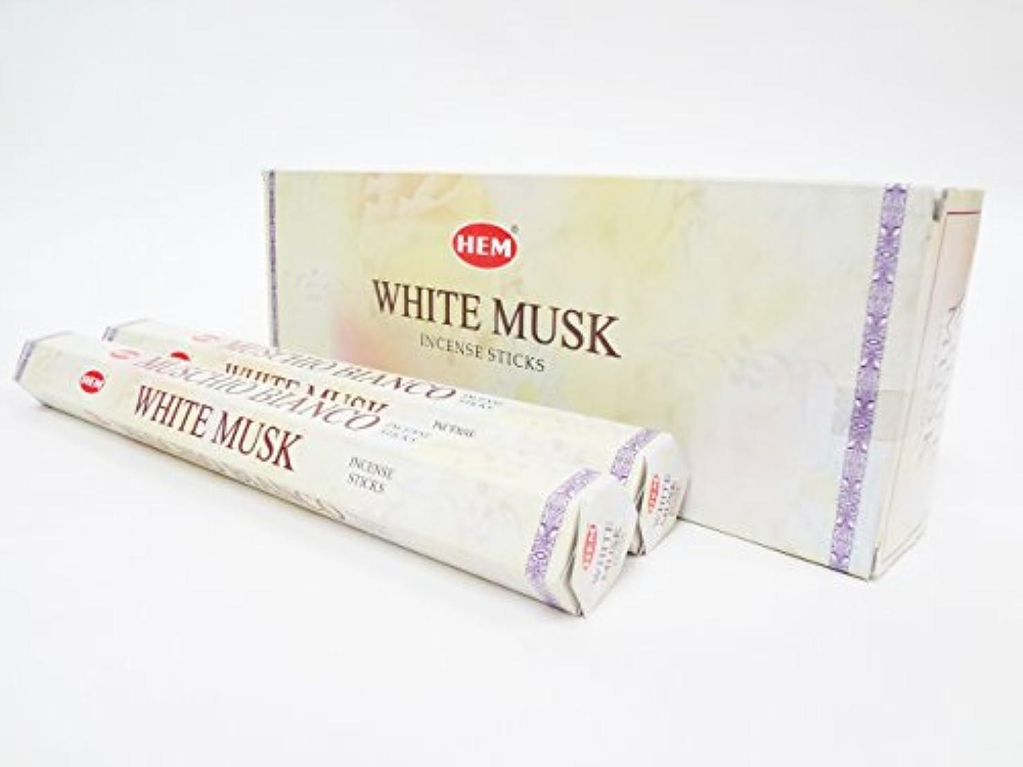 控えめな落ち着いて差HEM ヘム ホワイトムスク WHITEMUSK ステック お香 6本 セット