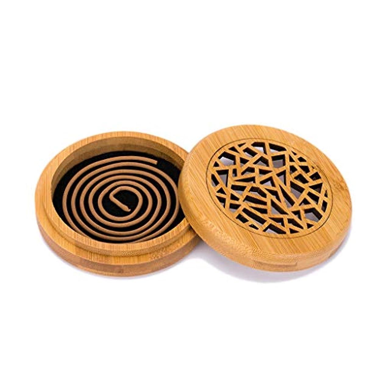 埋め込む通り抜ける解き明かす木製香炉コイル香スティックコーンバーナーホルダー部屋の装飾瞑想竹アッシュキャッチャー香ホルダー (Color : Wood, サイズ : Round)