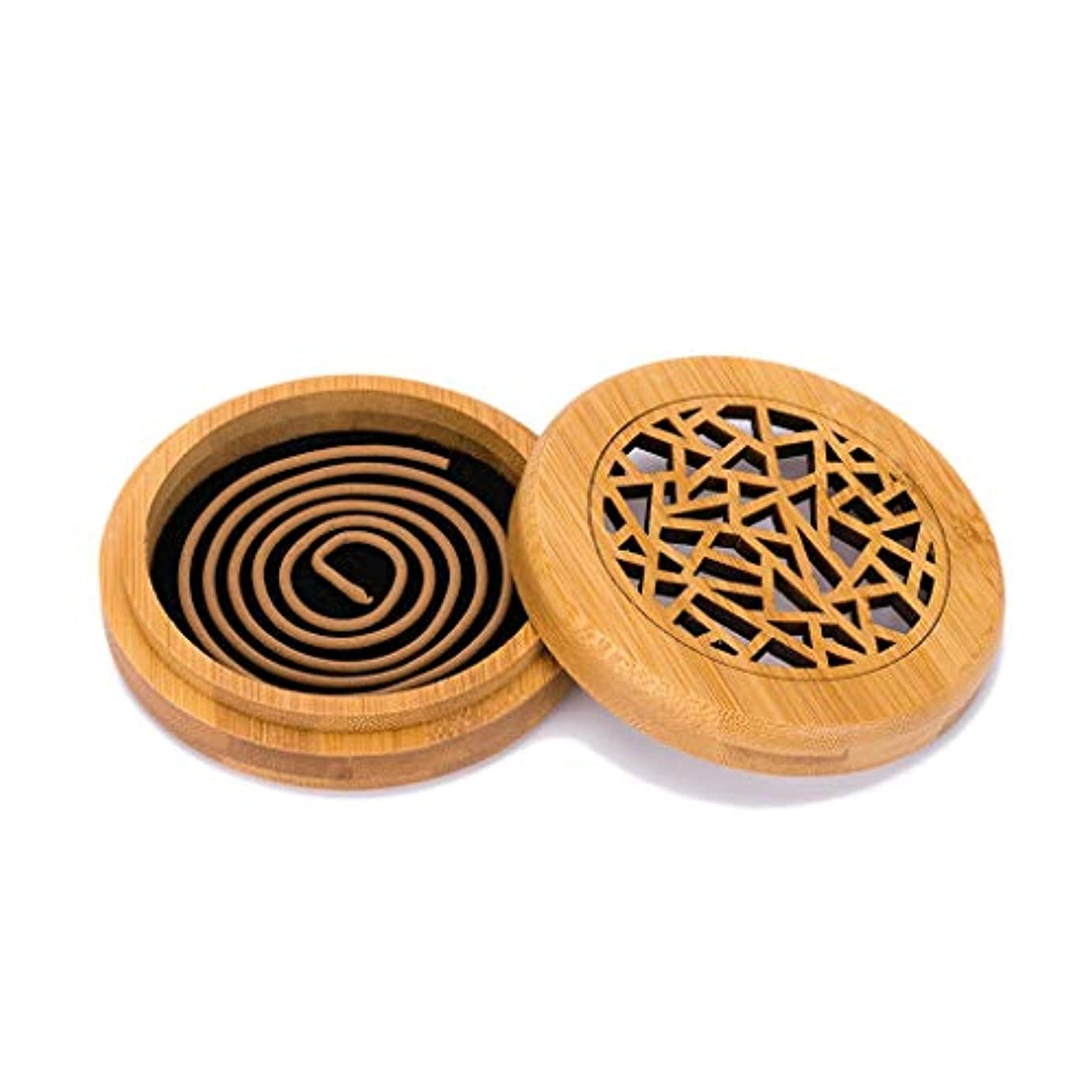 強い貝殻行列木製香炉コイル香スティックコーンバーナーホルダー部屋の装飾瞑想竹アッシュキャッチャー香ホルダー (Color : Wood, サイズ : Round)