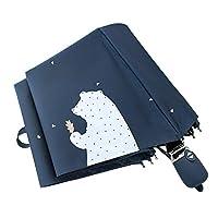 ANGJ 折りたたみ傘日傘自動開閉UVカット紫外線遮蔽率99%晴雨兼用完全遮光遮熱耐風撥水レディース折り畳み傘軽量シンプルエレガント8本骨190T高密度NC布350グラム収納ポーチ付(ベア1(ブルー))