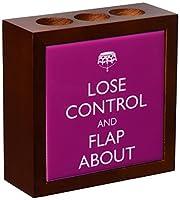 Rikki Knight Lose Control and Flap About SM Rose Pink Color Design Inch Tile Wooden Tile Pen Holder [並行輸入品]