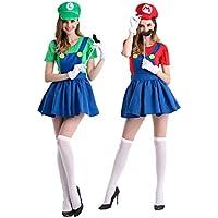 MAKE CHEERFUL マリオ ルイージ コスプレ 仮装 大人用 レディース 4点セット (マリオ+ルイージ2点セット)