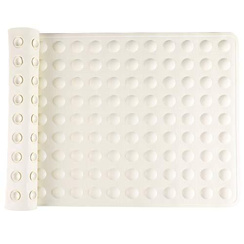 IRETION お風呂マット 浴槽 滑り止めマット 転倒防止 介護用品 痛くない 吸盤付き 40×70cm 天然ゴム製 (ベージュ)