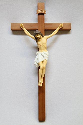 """10.25""""チェリーウッド十字架壁クロスJesus手描きコーパスイタリアStatue Sculptureカトリック宗教ギフトVittoriaコレクションMade in Italy"""