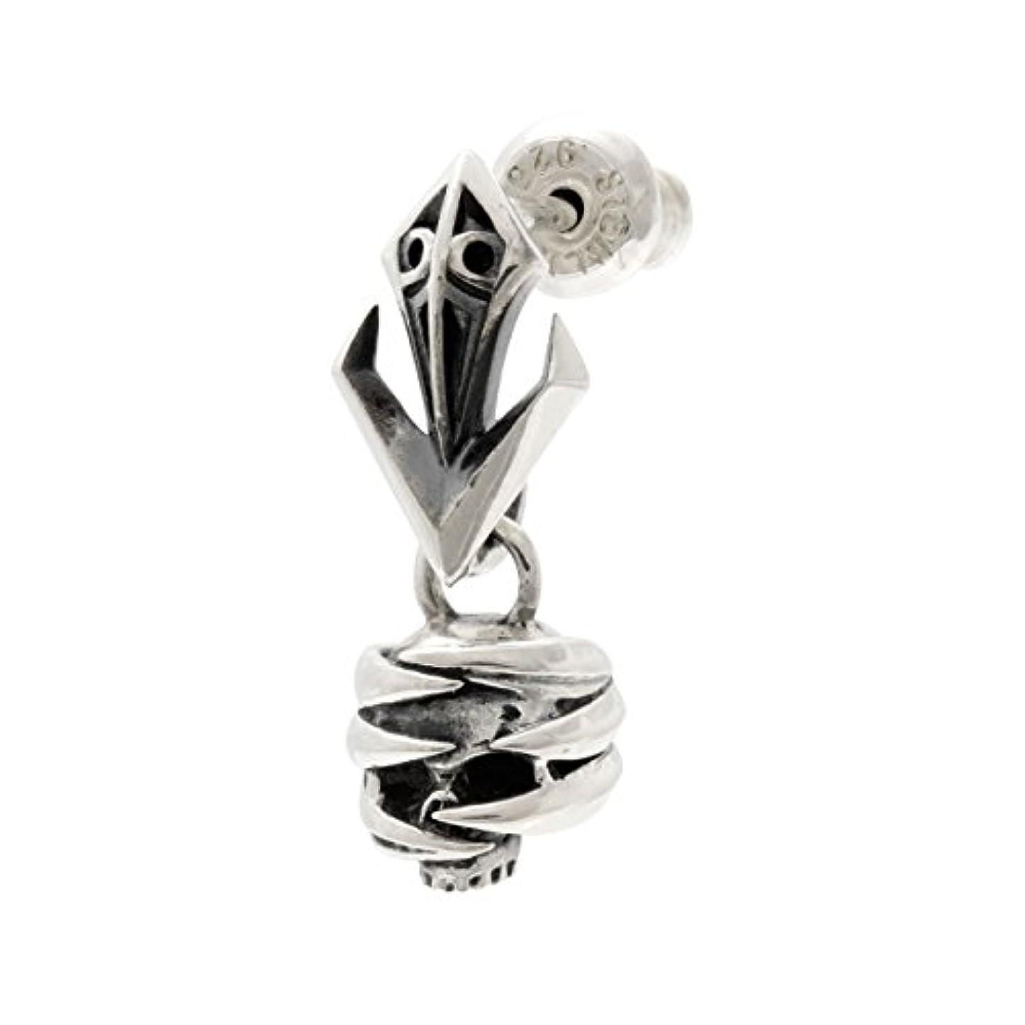 防衛反対した無線[エムズコレクション] M's collection ドロップピアス シルバー テンタクルス スカル 爪痕 ハード メンズ アクセサリー X0314