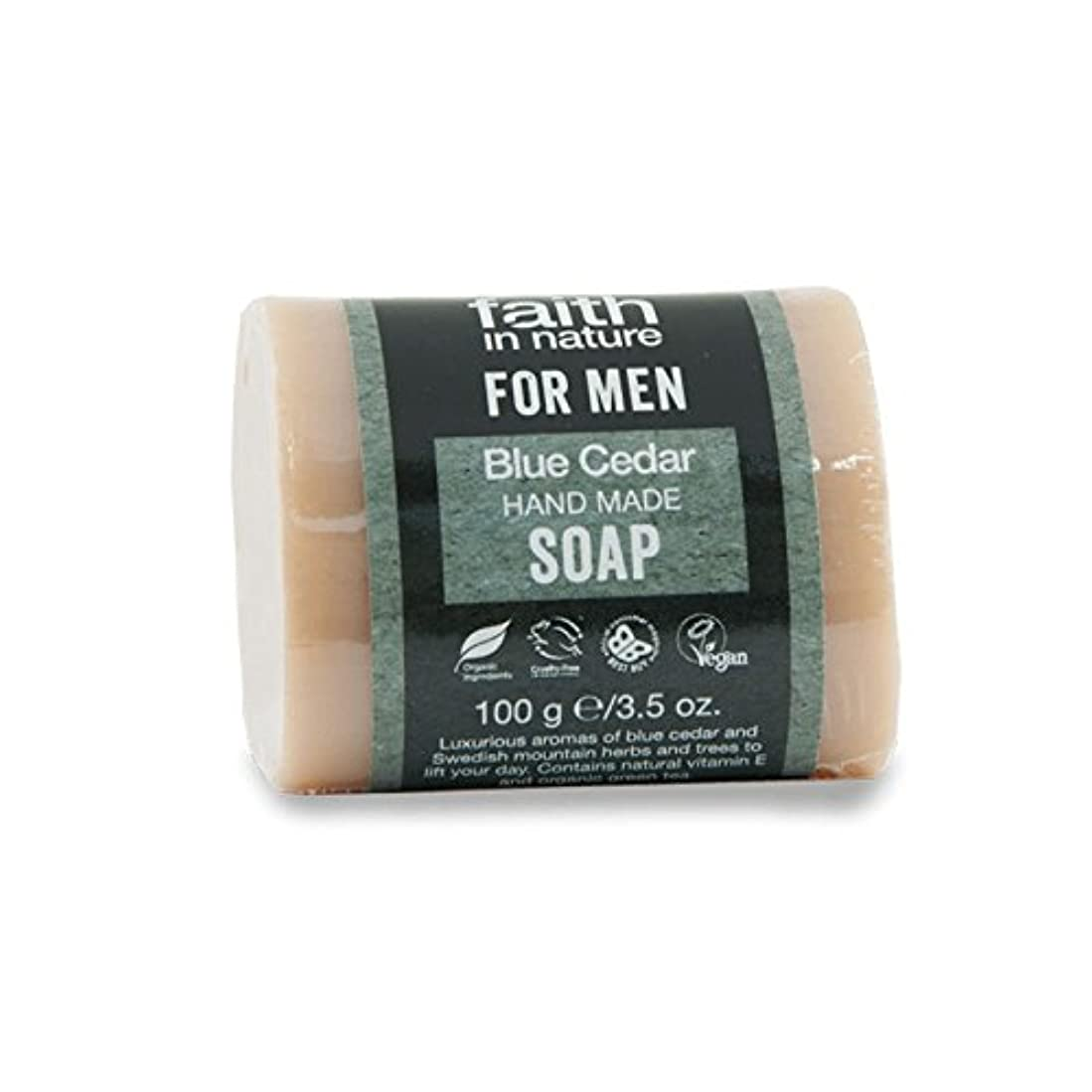 入手しますネストフクロウFaith in Nature for Men Blue Cedar Soap 100g (Pack of 6) - 男性青杉の石鹸100グラムのための自然の中で信仰 (x6) [並行輸入品]
