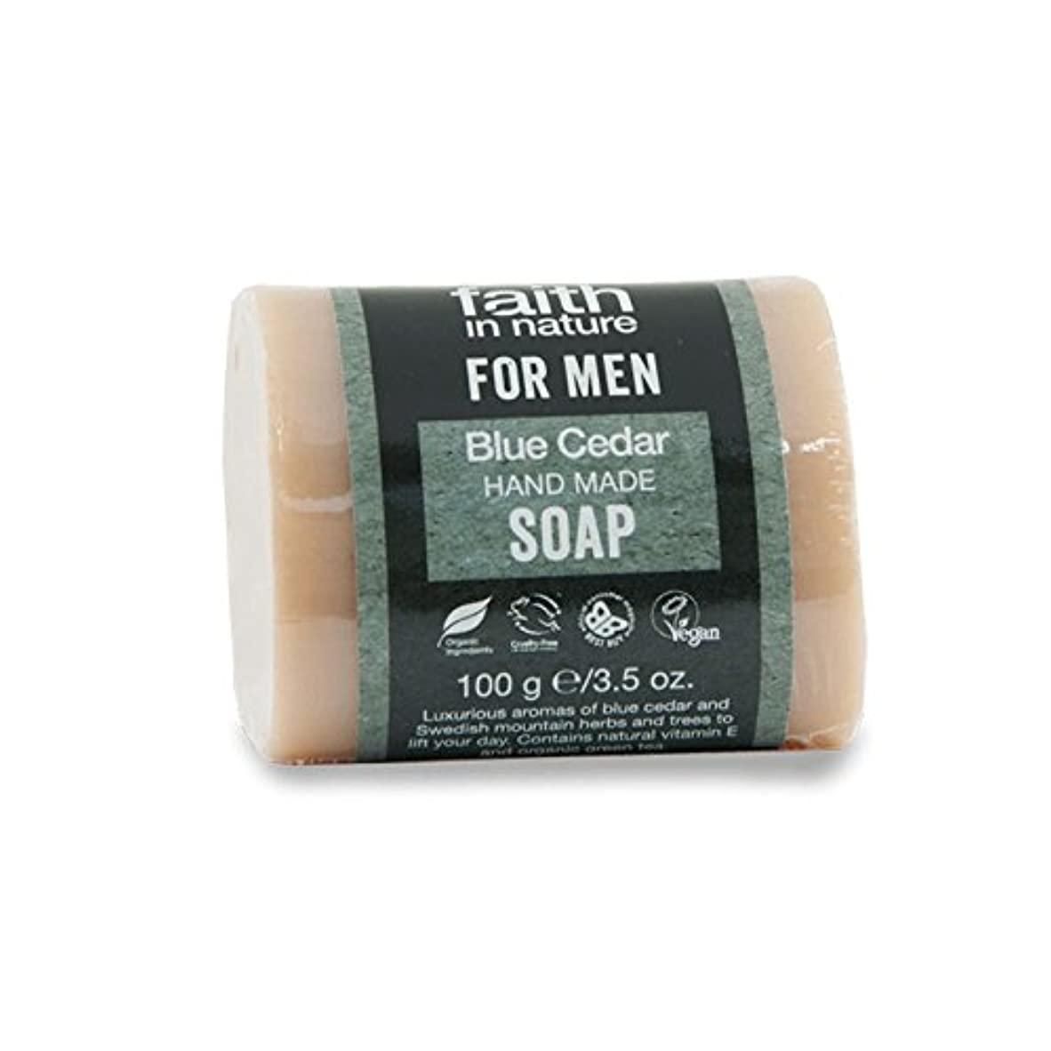 食べる記念日珍味Faith in Nature for Men Blue Cedar Soap 100g (Pack of 2) - 男性青杉の石鹸100グラムのための自然の中で信仰 (x2) [並行輸入品]