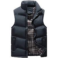 KINDOYO Men's Winter Down Vest Windproof Down Puffer Jacket Coat Waterproof Sleeveless Zipper Stand Collar Outwear