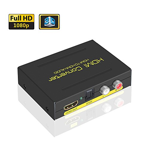 ELUTENG HDMI 音声分離器 1080P 3D HDMI スプリッター アナログ SPDIF + 2RCA出力 HDMI 光デジタル 分離 オーディオ HDMI1.3 HDMI 音声分離器 PS4 / PS3 / XBox / PC / Blu Ray Player 等対応 -