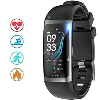 Moucit 多機能スマートウォッチ カラースクリーン スマートバンド 腕時計 活動量計 歩数計 IP67防水 フィットネストラッカー 睡眠検測 着信通知 長座注意 iPhone/android 対応 ジョギング 水泳 ランニング 敬老の日