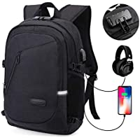 MODAR Laptop Backpack, Anti Theft USB Business Backpack Fits 15.6 inch Computer/Notebook / Tablet with USB Charging Port and Earphone Port, Backpack for Men & Women (15.6'' Upgrade Black)