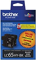Brother LC65HYBK2 High-Yield 2-Pack Ink Cartridge%カンマ% 900 Page-Yield%カンマ% Black