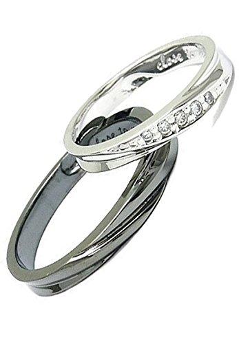 [クローストゥーミー] Close to me フローライン シルバー 925 隠し ハート ペアリング 2個セット ブランド 指輪 (女性11号と男性15号)