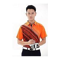 [inotenka]メンズゴルフTシャツ 半袖ポロシャツ ゴルフウェア UVカット 日焼き対策 男性用 スポーツ 021-xsty-yf047(S オレンジ)
