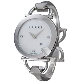 GUCCI (グッチ) 腕時計 キオド 122SM YA122504 SS ホワイト 3Pダイヤ レディース