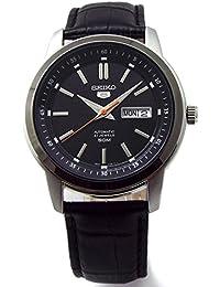 SEIKO 5 セイコー ファイブ 自動巻 オートマチック 50m防水 腕時計 本革ベルトセット 国内セイコー正規流通品 ブラックダイヤル SNKM89KC [並行輸入品]