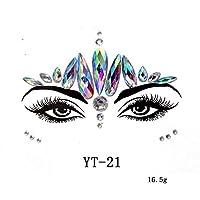 フェイスステッカー 顔 シール アイメイク アイステッカー フェイスシール メイクアップ タトゥーシール コスプレ用品 顔の宝石類ラインストーン一 宝石祭パーティーのキラキラのステッカーDIY接着剤 フラッシュ一 簡単に操作(YT-21)
